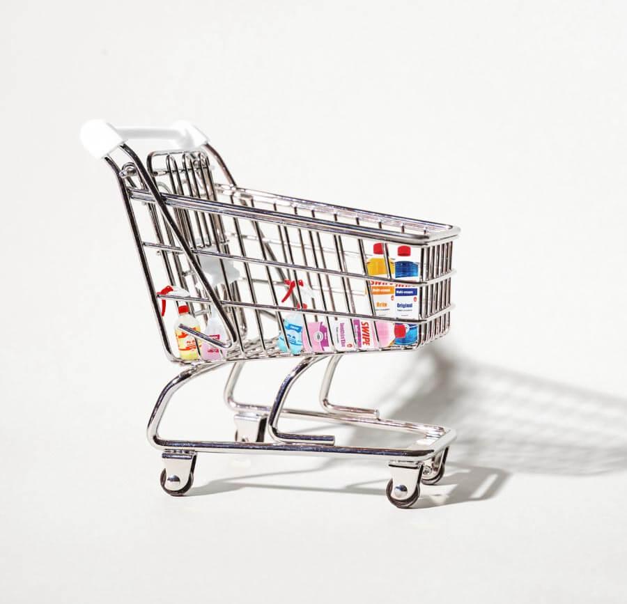 pourquoi choisir la vente à domicile chez Swipe complément de revenus caddie avec produits ménagers courses