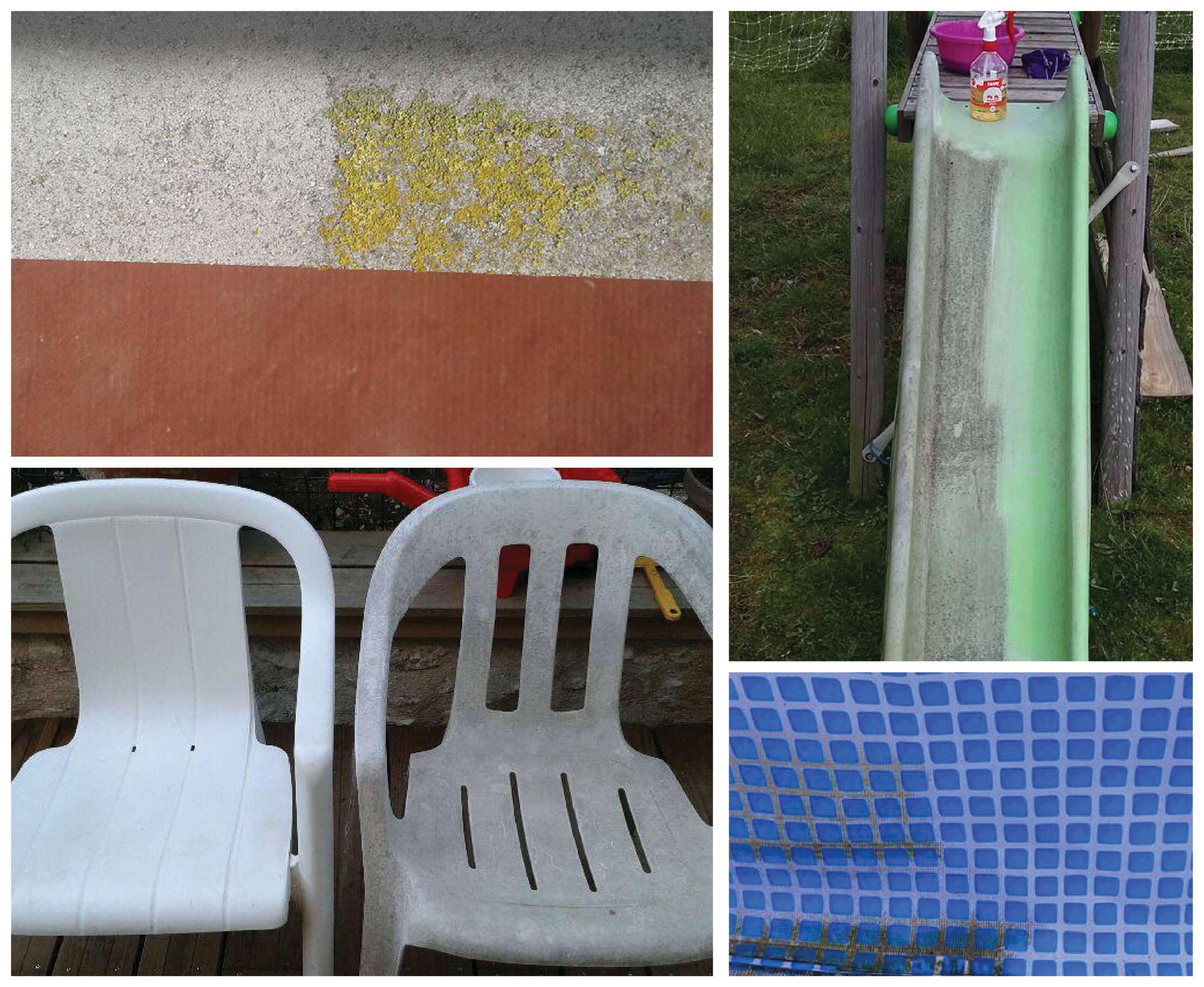 Nettoyer ses extérieurs avec le produit ménager Swipe Brite et enlever les verdissures et moississures, exemples sur chaise, mousse, toboggan